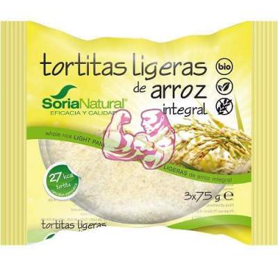 Tortitas ligeras de arroz integral ( sin gluten ) 4 paq. de 3 tortitas